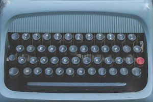 blue old typewriter