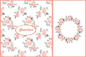 Watercolor roses 1. Seamless+frame