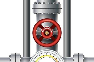 Gas pipe valve, pressure meter