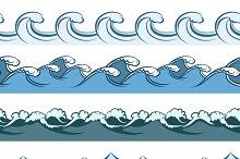 Blue waves seamless line patterns