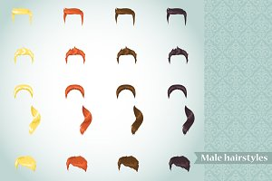 Vector set of male hairstyles
