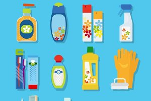Hygiene and cleaning products icons