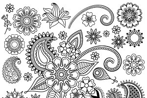 Ethnic Mehndi Flowers Elements