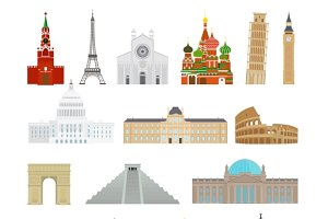 Monuments flat & thin line icons