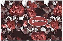 Watercolor roses 2. Seamless