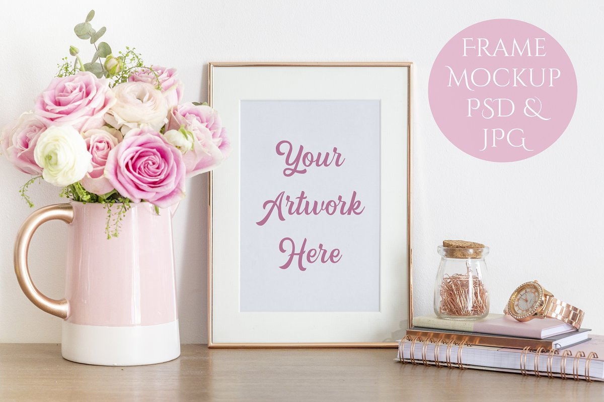59ab1ecc6d4 Frame Mockup - Rose Gold and Pink ~ Print Mockups ~ Creative Market