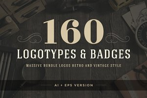 160 Vintage logotypes and badges