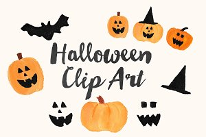 $2 SALE Watercolor Halloween ClipArt
