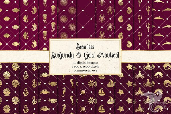 Burgundy and Gold Nautical Patterns