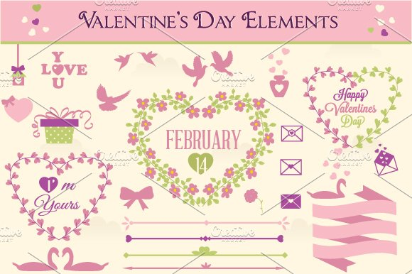 Valentines Day Labels And Elements 3 Web Elements Creative Market