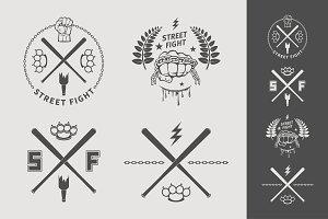 Street fight emblem set