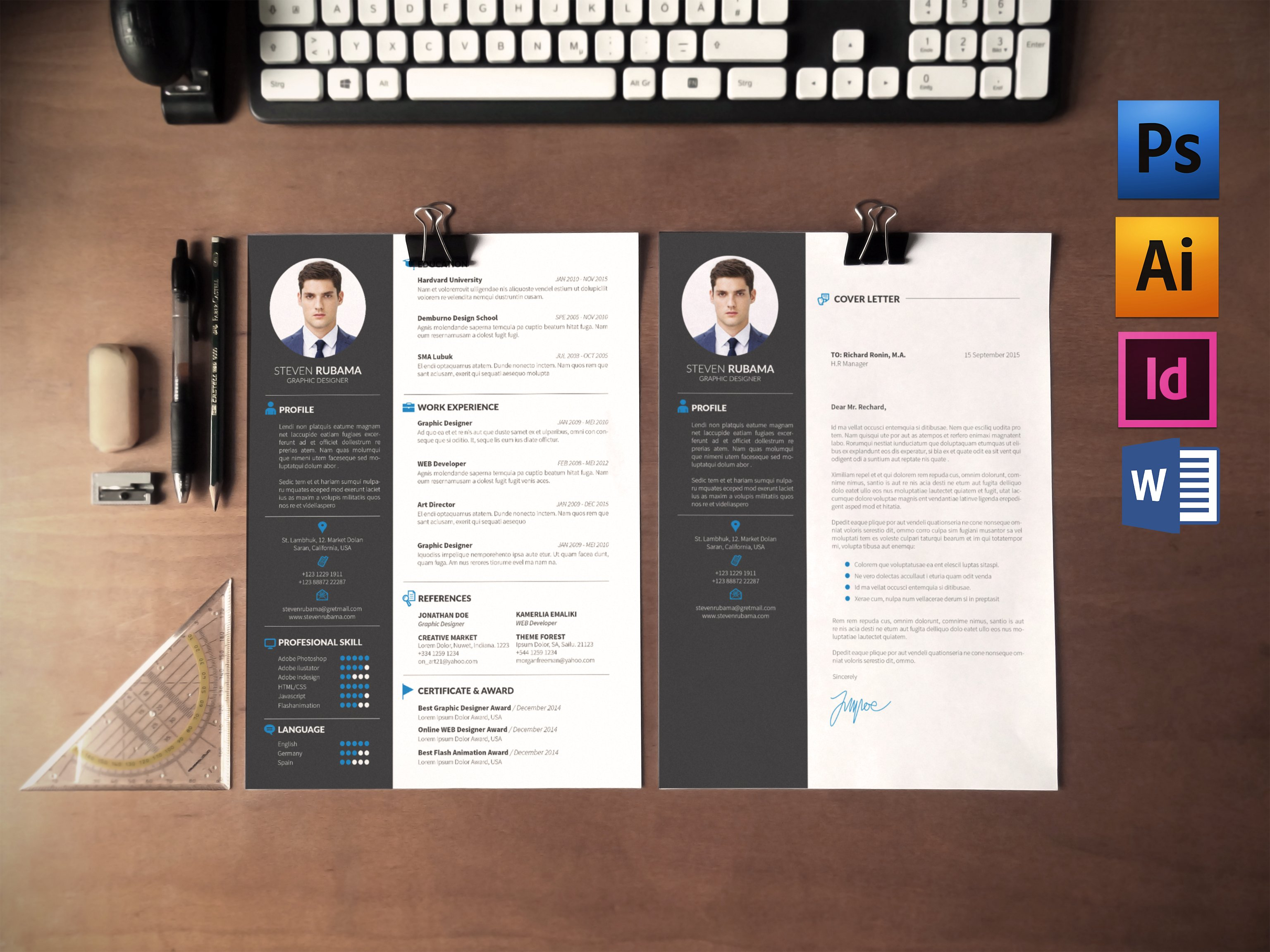 resumecv cover letter resume templates creative market - Free Resume And Cover Letter Templates