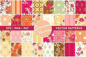 32 Summer Garden Vector Patterns
