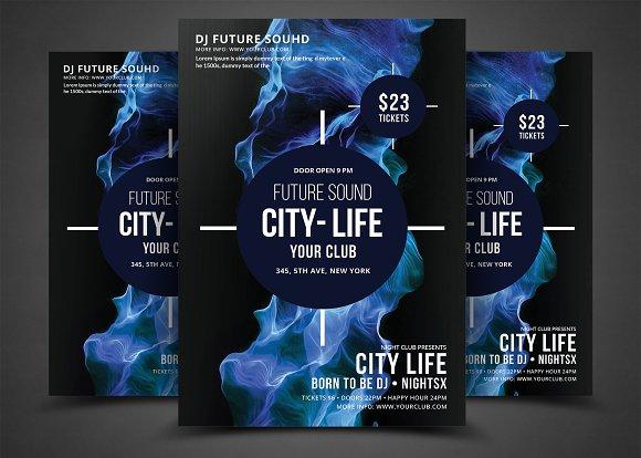 Futuristic Festival Concert Flyer in Flyer Templates