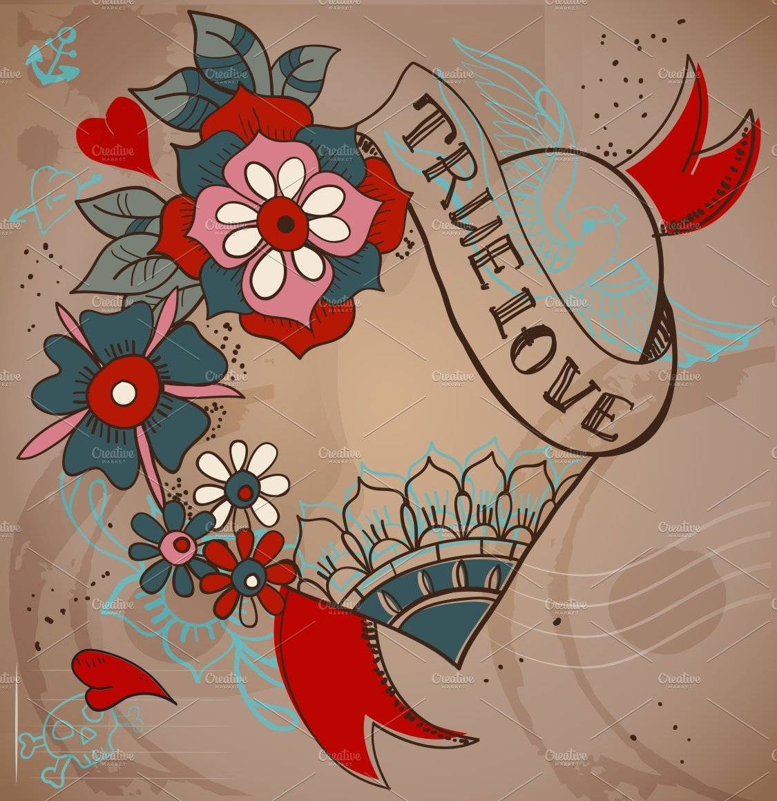 Valentine card tattoo style graphics creative market for Valentine s day tattoos