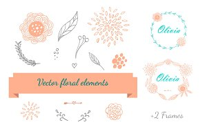 Hand Drawn floral elements set