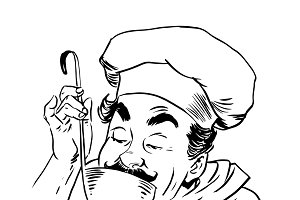 chef tastes food line art