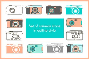 Set of camera icons in outline style