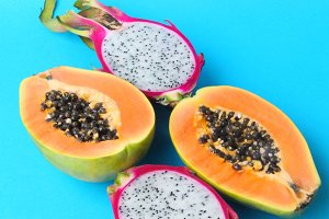 Dragon fruit and papaya