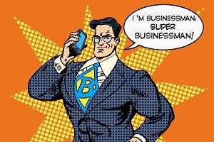 super businessman answering phone
