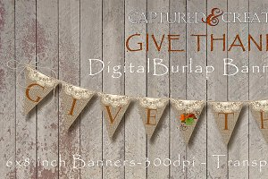 DIY Give Thanks Burlap Banner Flag