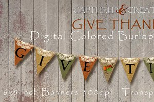DIYGive Thanks Colored Burlap Banner