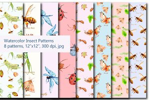 Watercolor Insect Pattern