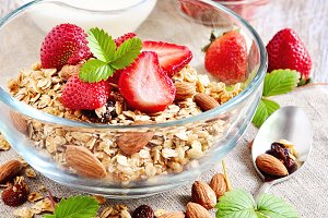 Granola cereal with strawberries