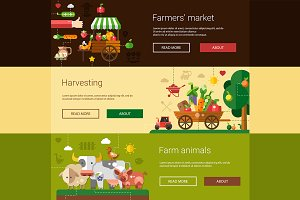 Farm & Agriculture Banners Set