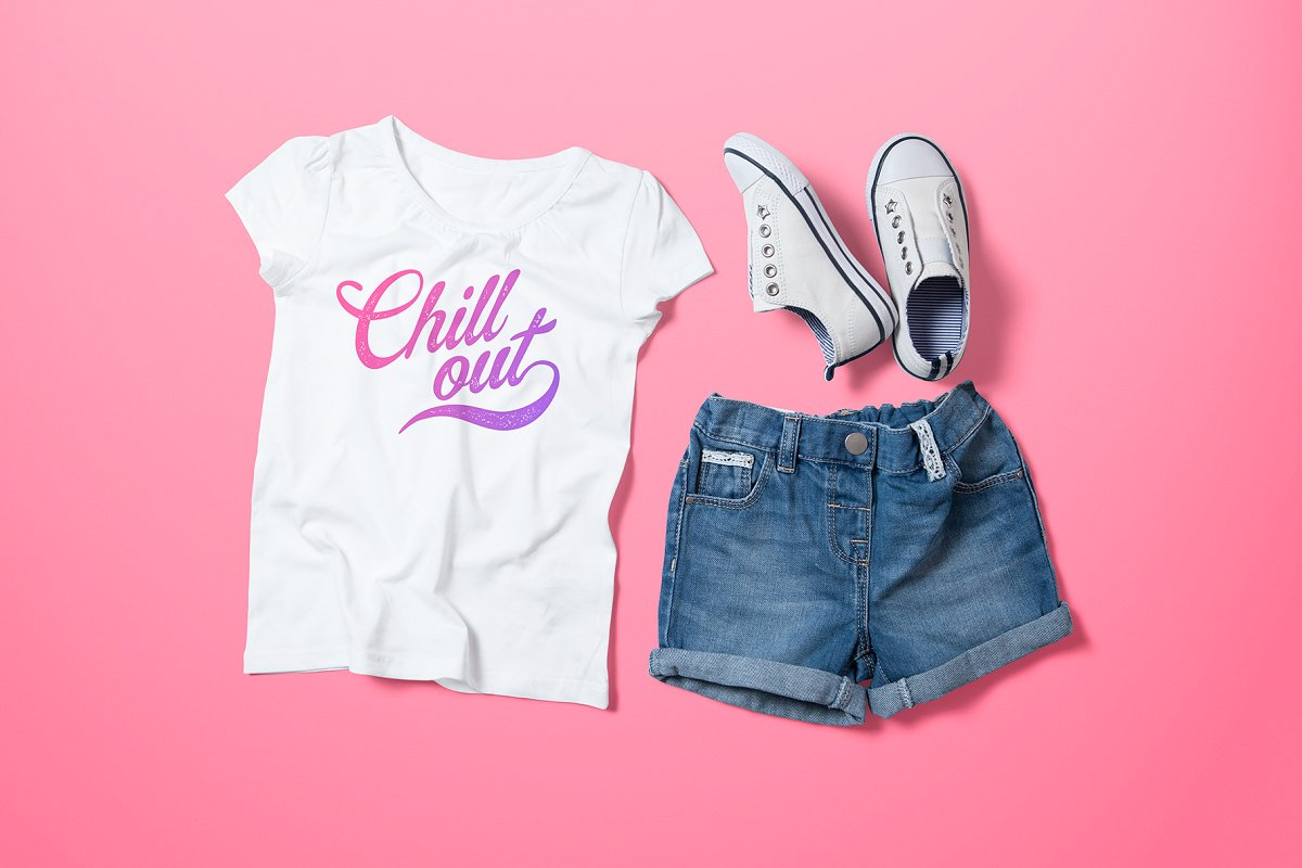 b6570f62761ec Girl's Crew Neck T-shirt Mock-up ~ Product Mockups ~ Creative Market