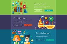 Seaside Travel Vacation Banners Set