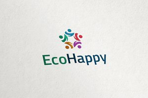 Eco Happy - People Group Logo
