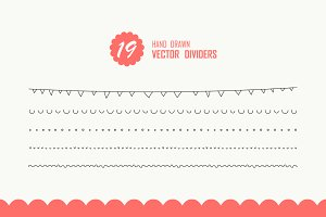 19 Hand Drawn Vector Dividers