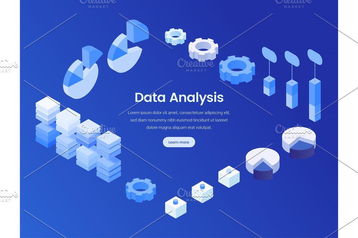 Data analysis isometric landing page