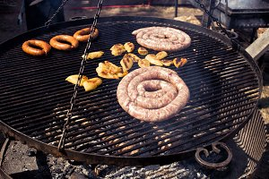 BBQ with sausages on the grill