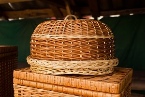Wicker wooden bread basket