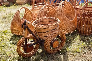 Wicker bicycle on the grass