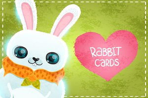 Happy Valentines Day cards. Rabbit.