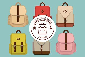 Hipster set of vintage backpack