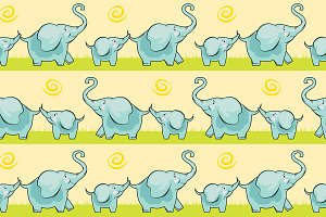 Children cute elephant seamless