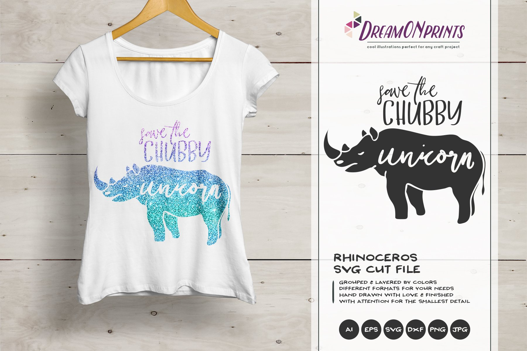 Save The Chubby Unicorn Svg Rhino Pre Designed Photoshop Graphics Creative Market