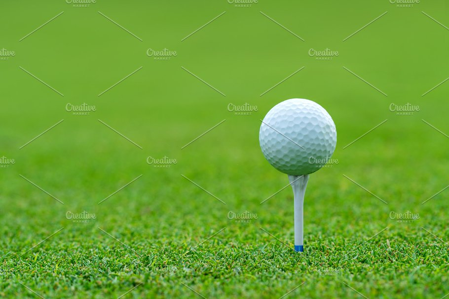 Golf Ball On Tee Ready To Be Shot High Quality Sports Stock Photos Creative Market