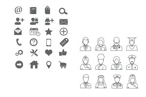 Icons collections in line art