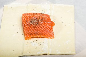 Salmon fillet on wrap