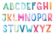 Hand drawn watercolor alphabet