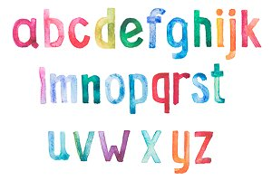Hand drawn watercolor alphabet