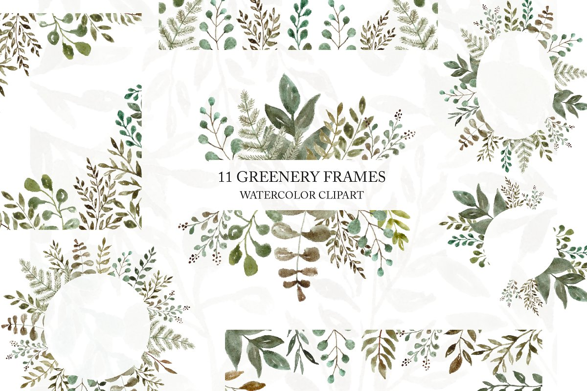 Greenery Floral Frame Clipart Custom Designed Illustrations