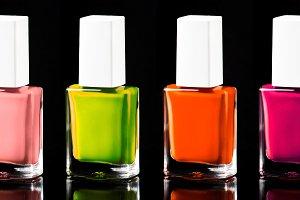 Nail polish bright neon colors from