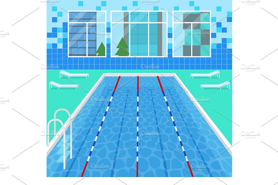 Cartoon Swimming Pool Interior Card Pre Designed Photoshop Graphics Creative Market