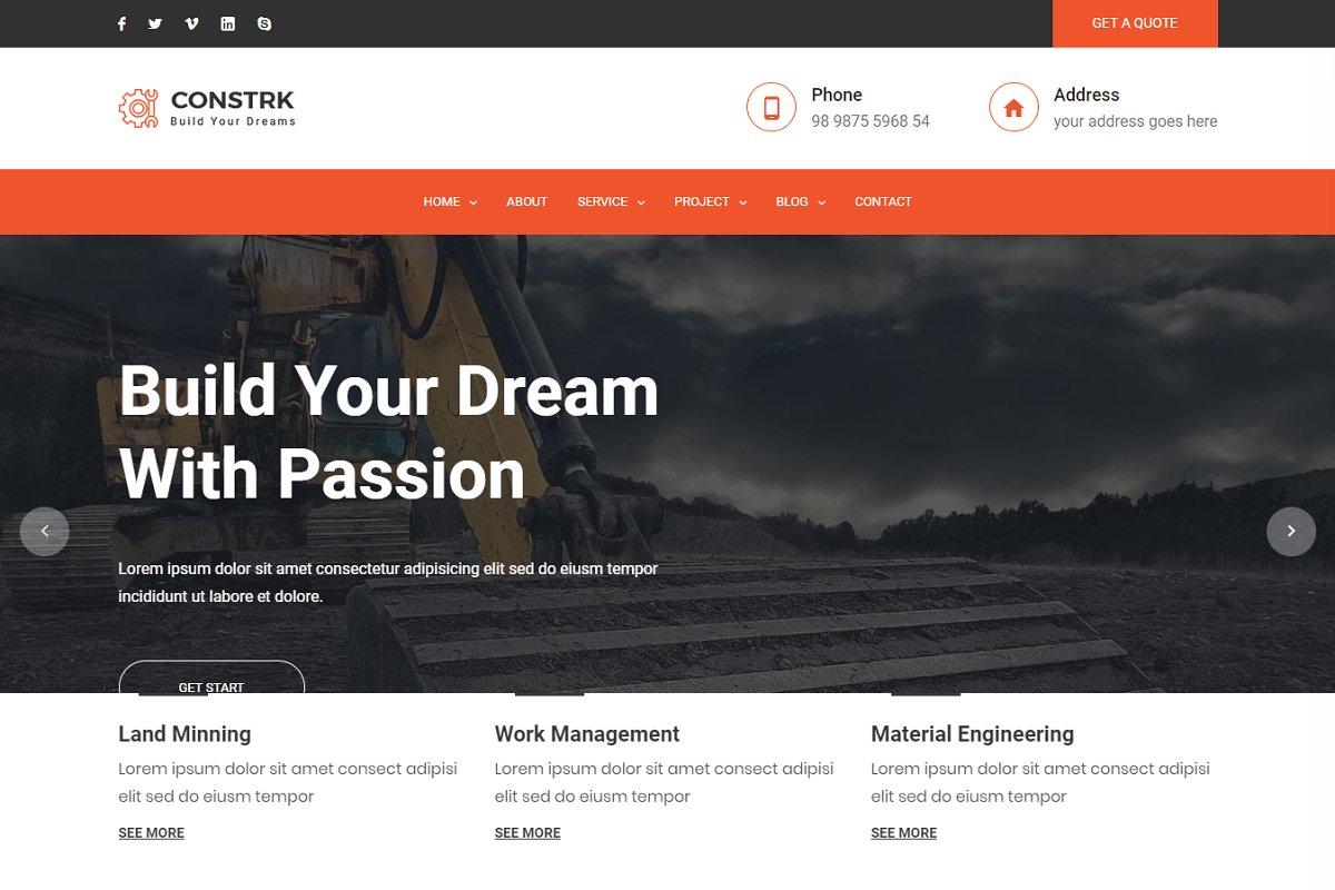 Constrk – Construction HTML Template